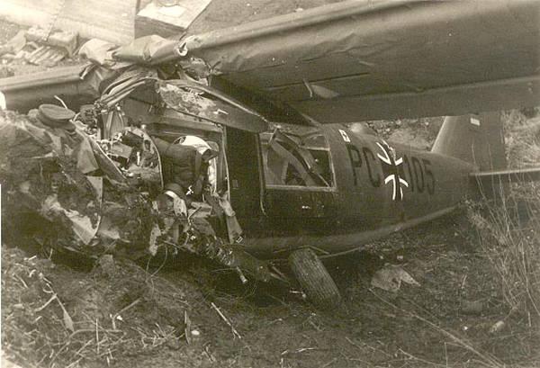 Nahaufnahme des zerstörten Flugzeuges