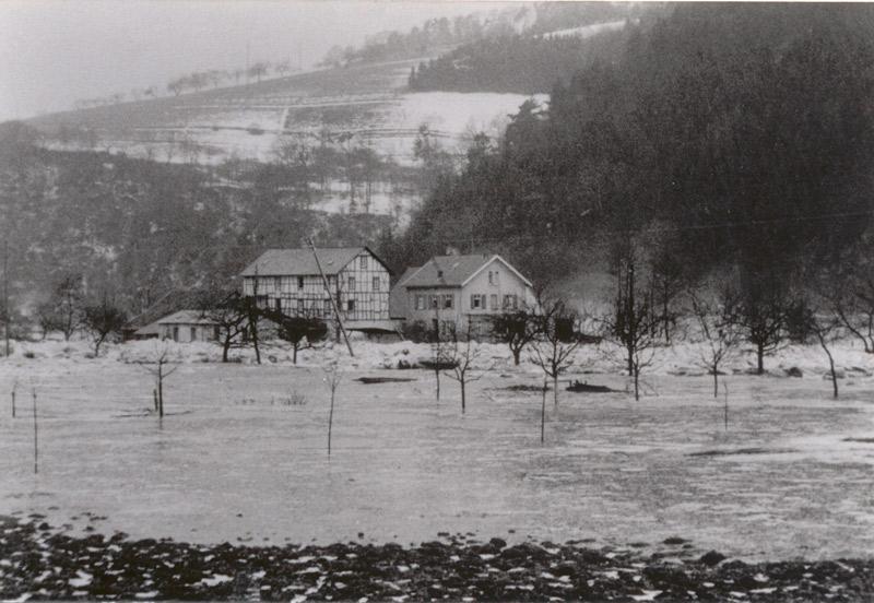 Eisgang 1956 mit Blick auf Nassen's Mühle
