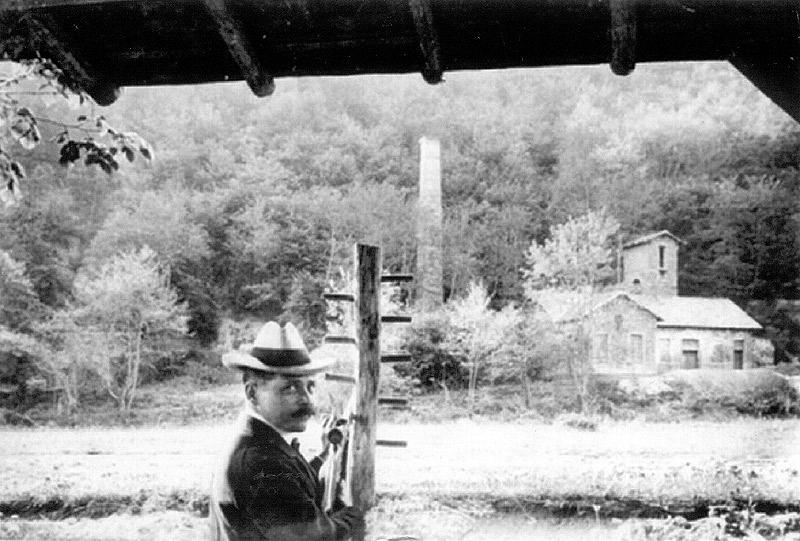 Schiessen über die Wied in Richtung Grube Katzenschleife - 1909 Person unbekannt
