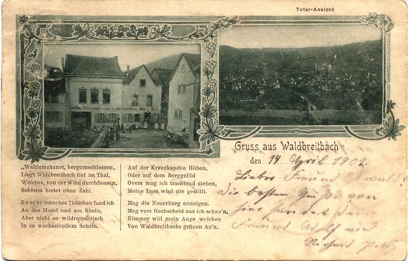 """Vier Jahreszeiten 1902 Links im Vordergrund ist deutlich die noch nicht bebaute Fläche """"Waldbreitbacher Hof"""" später Kinderkurheim zu sehen. Rechts an der Ecke vor dem jetzigen Cafe Pannhausen das Haus Heep"""