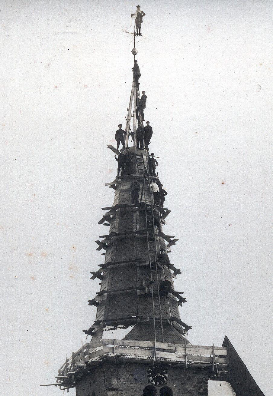 Dem Mutigen gehört die Welt! - Kirchturmreparatur 1926