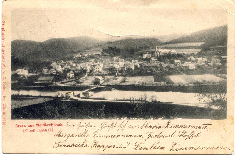"""Ansicht um 1906 Gegenüber der alten Brück das """"Haus Hopp"""", links das Jünglingsheim (Kolpinghaus) und rechts daneben das Fachwerkhaus """"Buhr"""" (jetzt Werner Böhm)"""